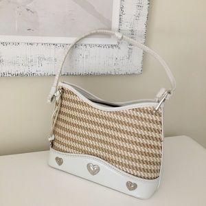 White & tan weaved summer handbag